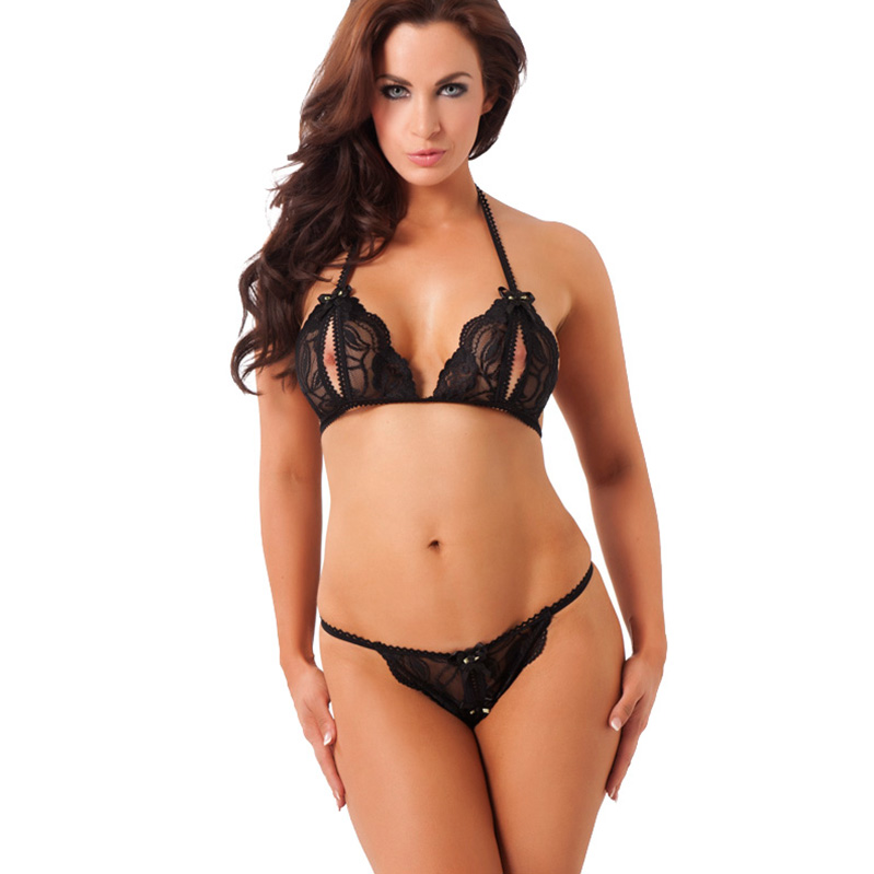 Black lace halter neck open cup bra and thong sexshop365